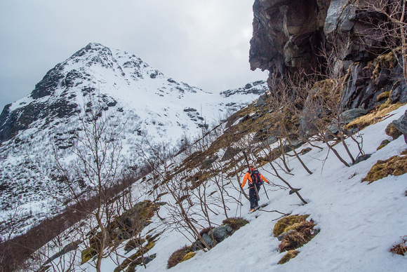 Bushwhacking to get to the prize couloir